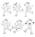 Ice skating deers to color vector image vector image