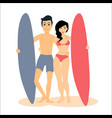 two male and female surfers man vector image vector image