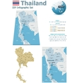 Thailand maps with markers vector image vector image