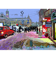 digital art painting of evening winter city landsc vector image vector image