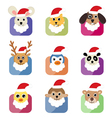 cute animal head with santa hat vector image