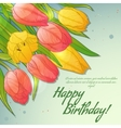 Floral decorative card with red and yellow tulips vector