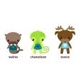 Animal moose and cartoon chameleon walrus vector image
