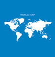 blank white world map isolated on blue background vector image
