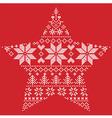 Scandinavian pattern in star shape on red vector image