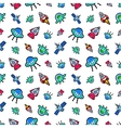Space Ships Rocket and Satellite Seamless Pattern vector image