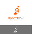speeding robot character logo vector image