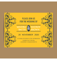 Wedding vintage invitation card yellow vector image
