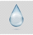 Falling transparent water drop isolated vector image