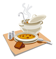 pea soup with croutons vector image vector image