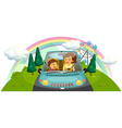 A mother driving the car with her daughter vector image vector image