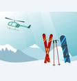 snowboard and ski in the ski mountain resort vector image vector image