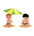 boys playing on the beach - filling bucket hiding vector image