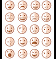 icons set 20 emotional smiles red vector image