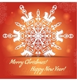 Card with snowflake with monkey symbol of 2016 vector image