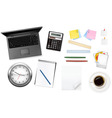 grey notebook and group of office sumples vector image