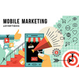 Mobile marketing and advertising concept line art vector image