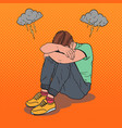 pop art stressed young man sitting on the floor vector image