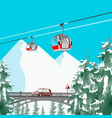 ski resort in mountains with cable cars and bridge vector image