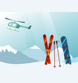 snowboard and ski in the ski mountain resort vector image
