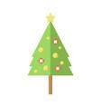 tall decorated cartoon christmas pine tree vector image