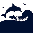 Dolphins jumping wave vector image vector image
