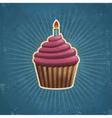 Retro Birthday Cupcake vector image