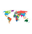 blank colorful political world map isolated on vector image