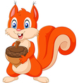 Cartoon squirrel holding pinecone isolated vector image