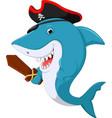 cute shark pirate cartoon vector image