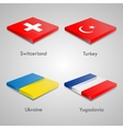 Glossy bricks buttons with european country flags vector image