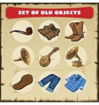 Set of old objects vest boots and other vector image