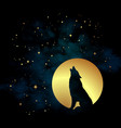 silhouette of wolf howling at the full moon vector image