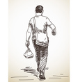 Sketch of walking man from back vector image