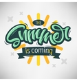 The Summer Is Coming Label Design Brush Script vector image