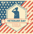 veterans day poster with us military soldier on vector image