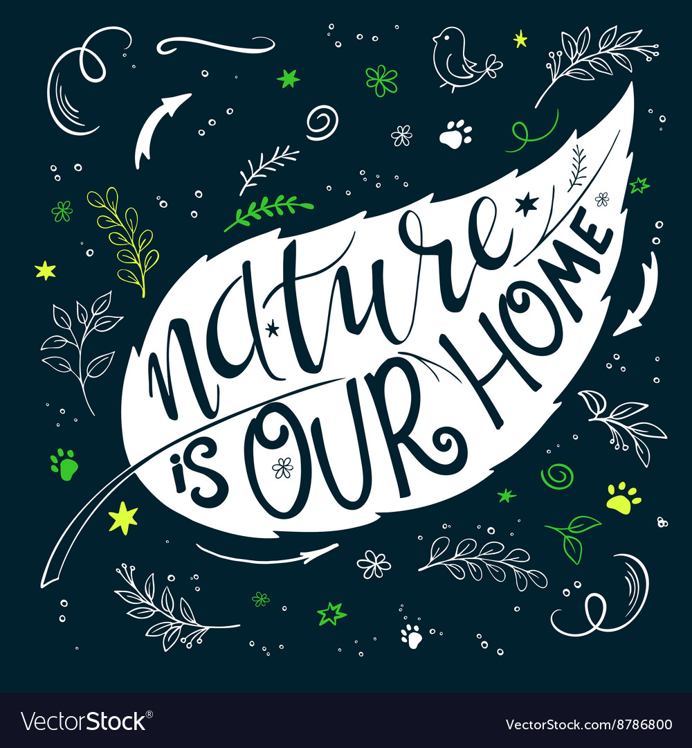 Hand lettering text  nature is our home this text vector