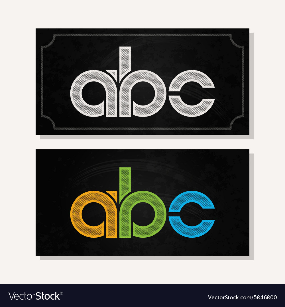 Letter a b c logo alphabet chalk icon set vector