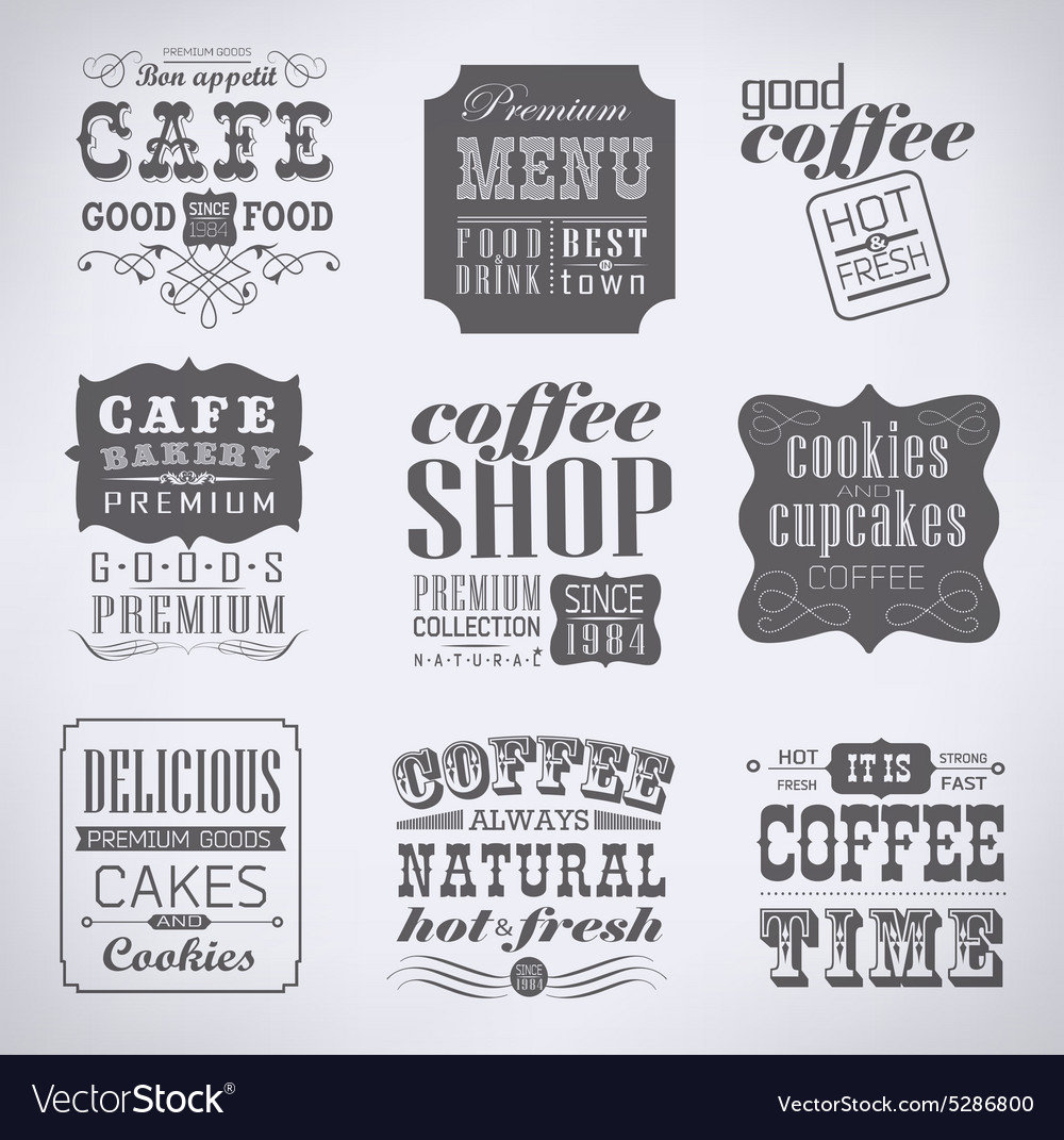 Retro labels and typography vector