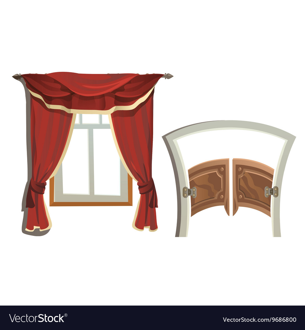 Window with red curtains and doors to saloon vector