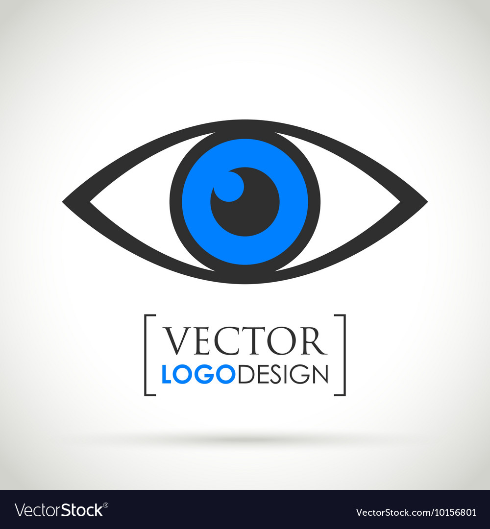 Abstract eye icon blue vector