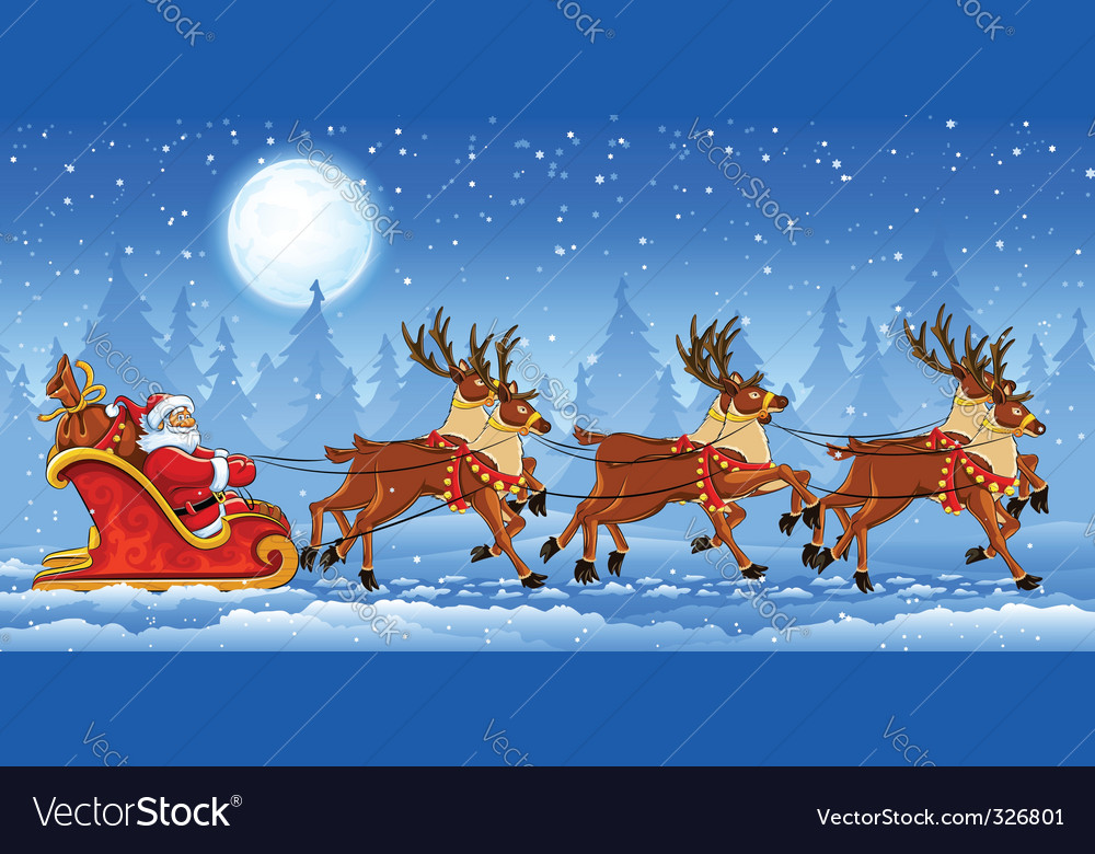 Christmas santa claus riding vector