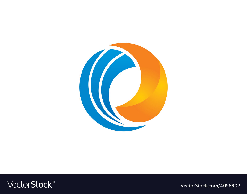 Circle swirl round business 2d logo vector