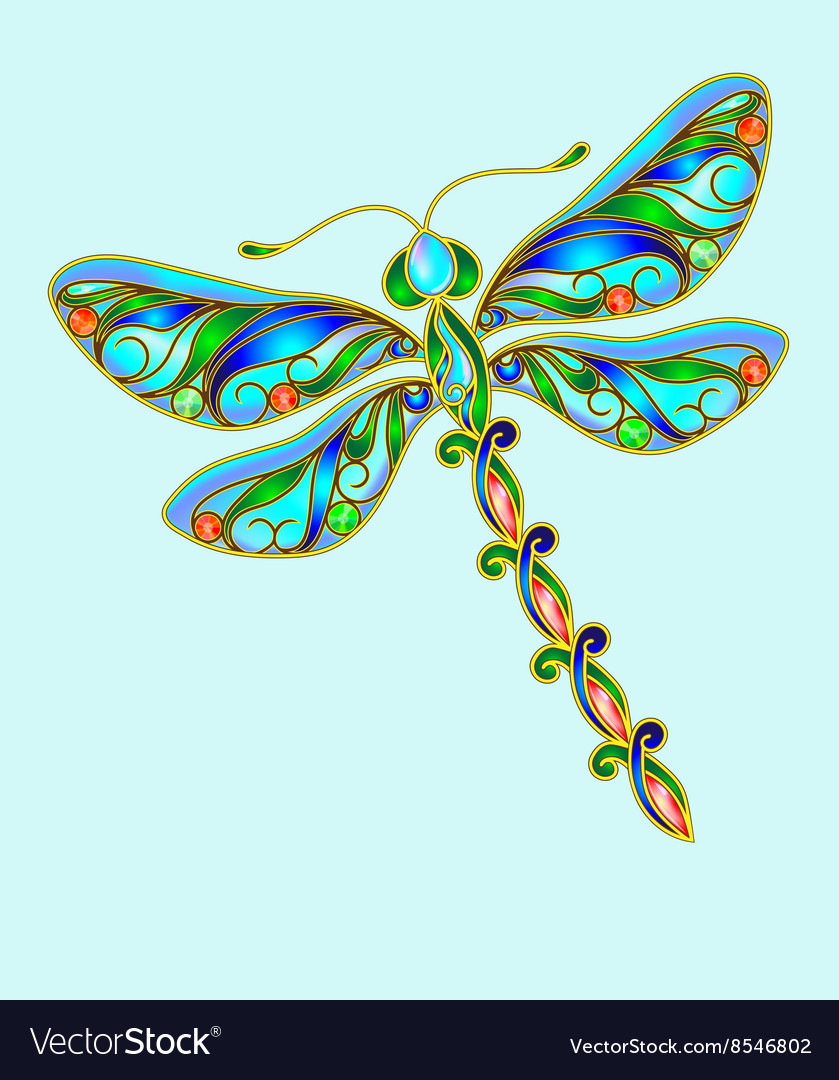 Decorative dragonfly made of precious stones vector