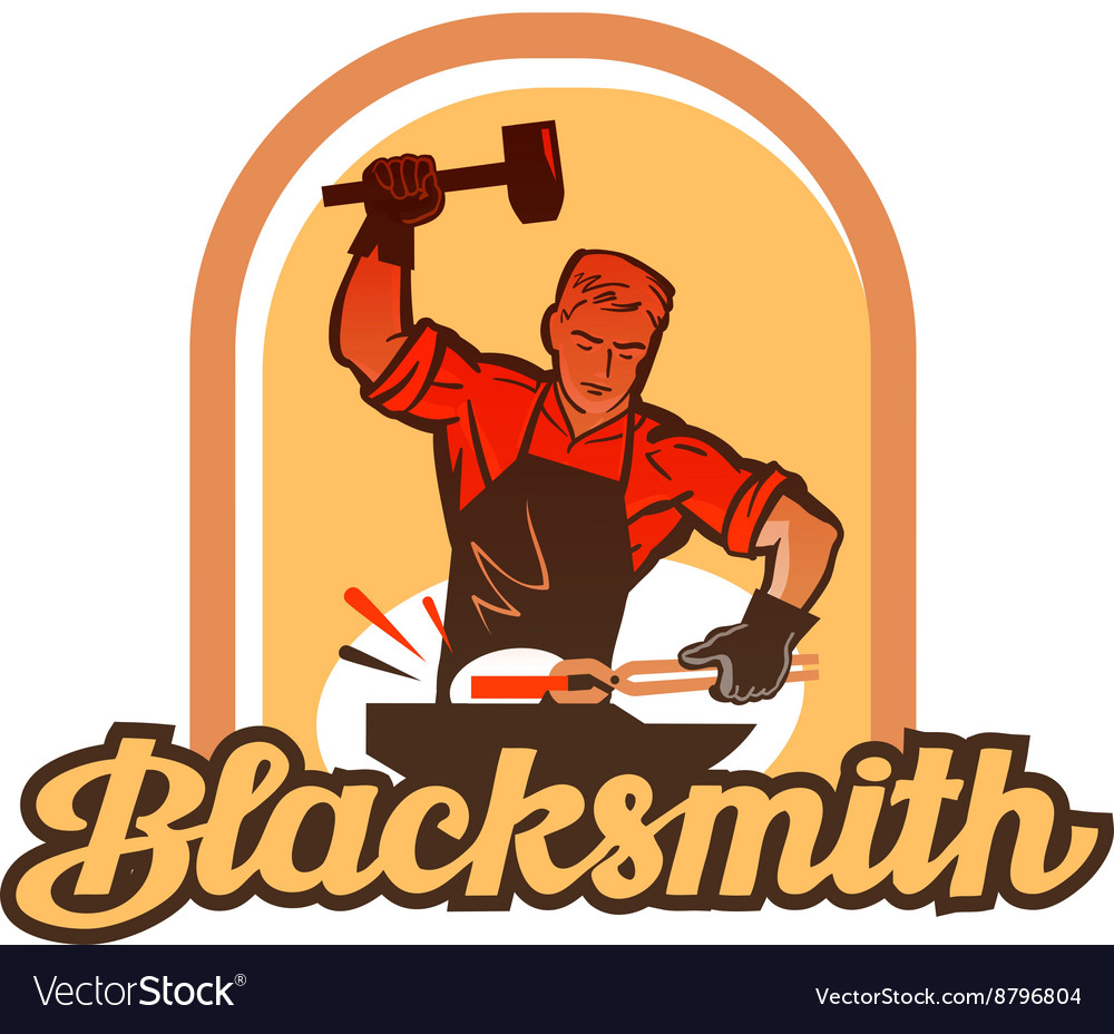 Blacksmith worker with sledgehammer striking at vector
