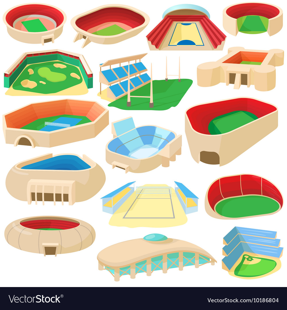 Sport stadium set cartoon style vector