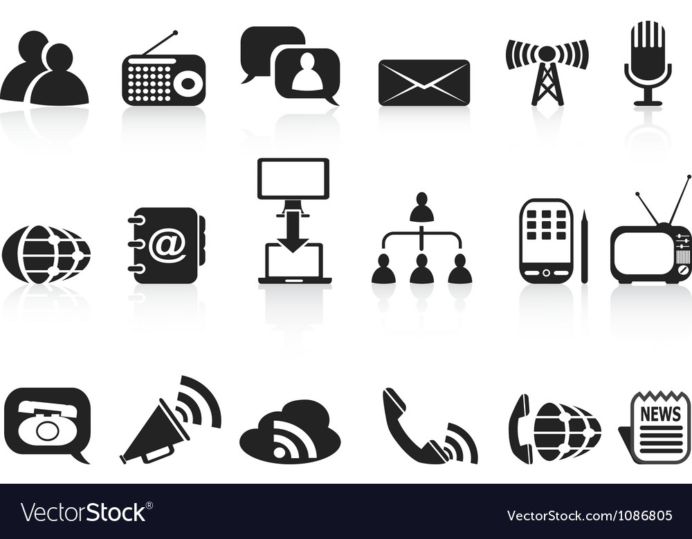 Black communication icons set vector