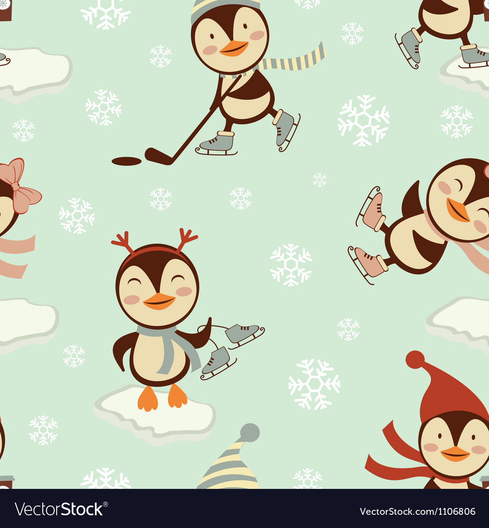 Skating penguins pattern vector