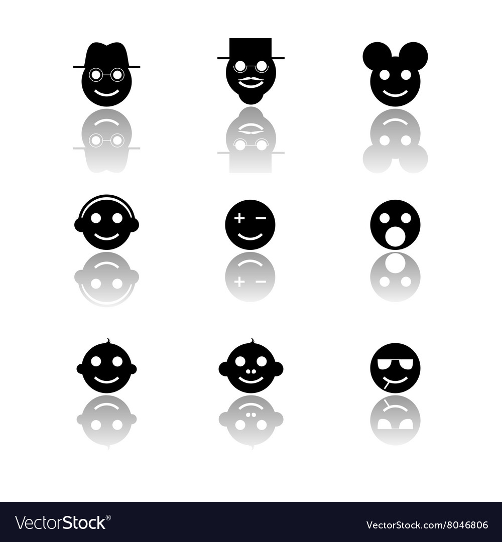 Smiles emoticon icons set vector