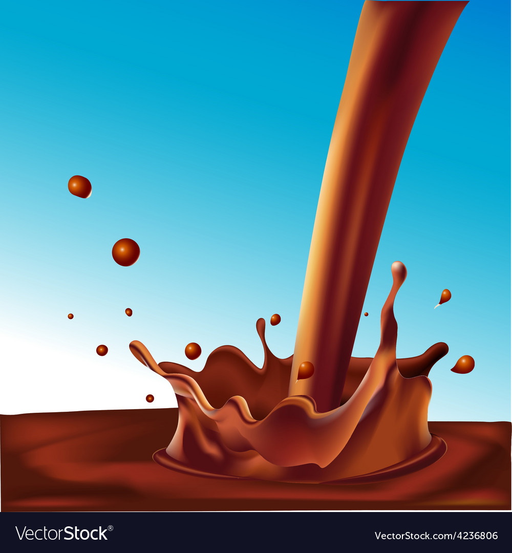 Splash of hot coffee or light chocolate on blue vector